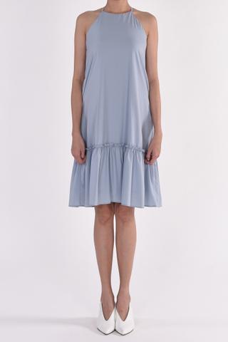 Cut In Ruffle Overlay Drop Waist Dress