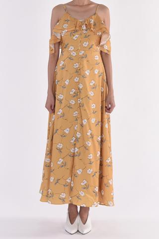 Floral Cold Shoulder Button Maxi Dress