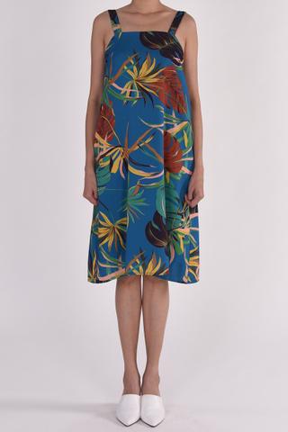 TROPICAL FLORAL SQUARE NECKLINE TRAPEZE DRESS