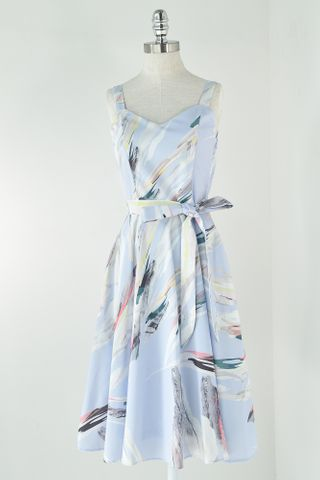 ABSTRACT STROKE TWO WAY SKATER DRESS