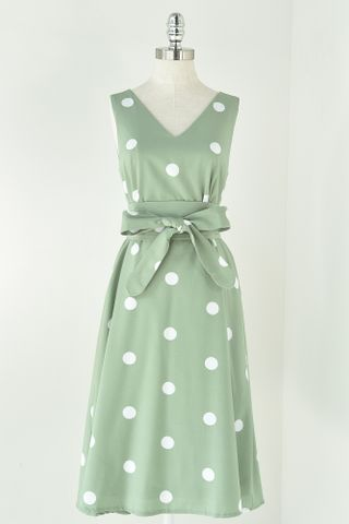 POLKA TRAPEZE DRESS WITH OBI BELT