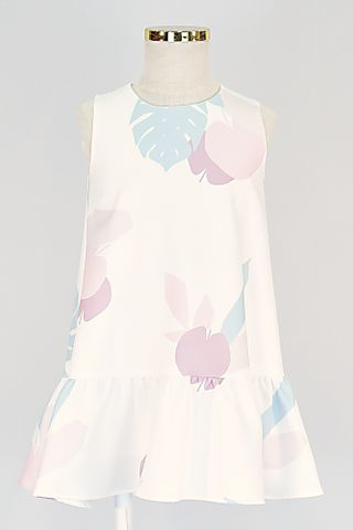 KIDS APPLE LEAF SLEEVELESS DROP WAIST DRESS