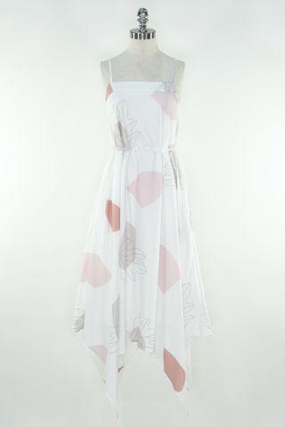 BLOCK LEAF ASYMMETRICAL TENT DRESS