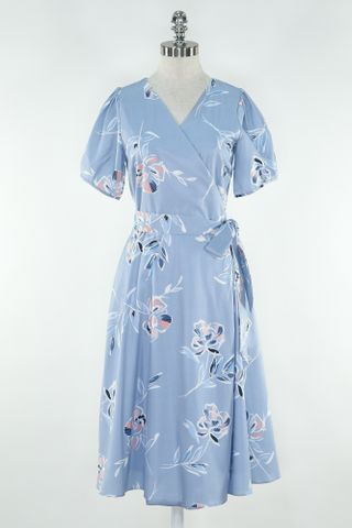 FLORAL PUFFY SLEEVE WRAP DRESS