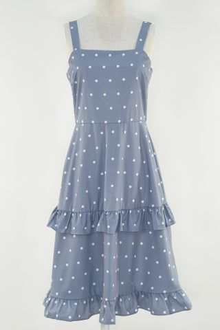 POLKA TIERED RUFFLE DRESS