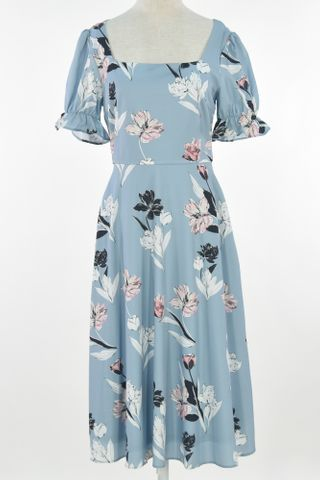FLORAL SQUARE NECKLINE PUFFY SLEEVE DRESS