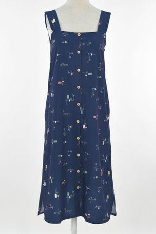 GEOMETRIC THICK STRAP BUTTON DRESS