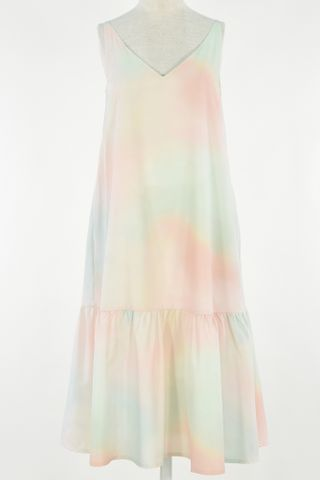 WATER COLOUR TWO WAY DROP WAIST DRESS WITH MASK