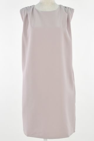 SHOULDER PADDED SHIFT DRESS WITH MASK