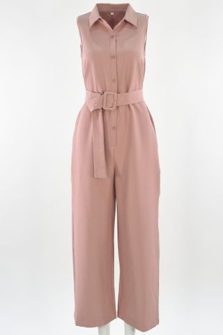 SHIRT JUMPSUIT WITH BUCKLE BELT