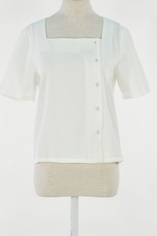 SQUARE NECKLINE BUTTON DOWN SLEEVE TOP