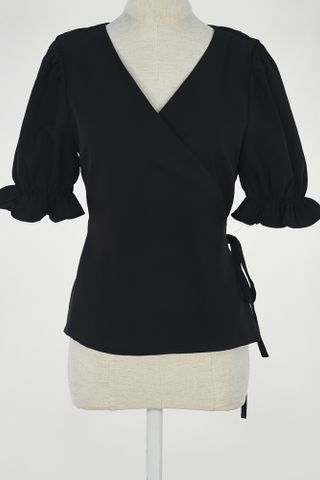 PUFFY SLEEVE WRAP TOP