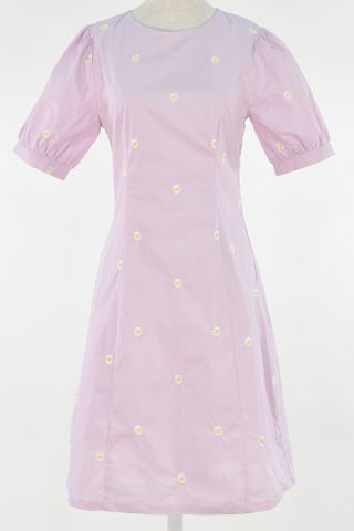 EMBROIDERY DAISY PUFFY SLEEVE SEAM DRESS