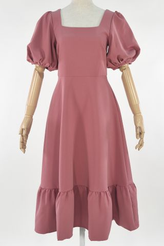 PUFFY SLEEVE SQUARE NECKLINE DRESS