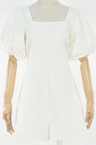PUFFY SLEEVE SQUARE NECKLINE ROMPER