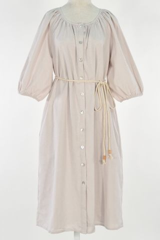 GATHERED PUFFY SLEEVE SHIRT DRESS WITH MASK