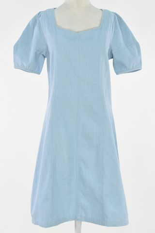 DENIM PUFFY SLEEVE SQUARE NECKLINE DRESS
