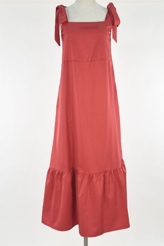 STRAP TIE RUFFLE HEM MAXI DRESS