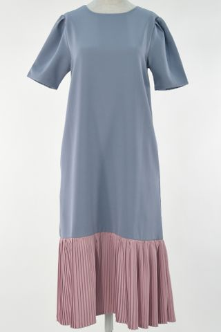 PUFFY SLEEVE COLOUR BLOCK PLEAT HEM DRESS