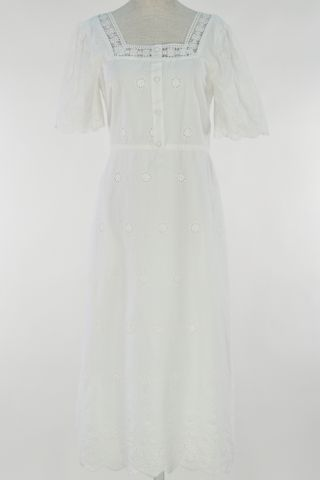 LATTICE EYELET SQAURE NECKLINE BUTTON DRESS